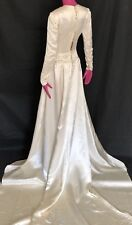 1940's Liquid Satin Champagne Pearl Candlelight Wedding Gown Long Sleeve