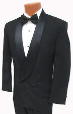Boys Black Double Breasted Tuxedo Jacket with Satin Shawl Lapels Wedding Mason