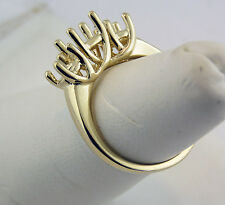 Three Stone Ring Setting 14K Yellow Gold Center 1Carat and Sides 1/2Carat Each