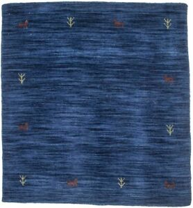 Modern Tribal Hand Loomed Solid Navy 3X3 Square Rug Oriental Wool Decor Carpet