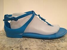 Ralph Lauren Collection Karly Sandals Flat Jelly Beach Ocean Blue 9 $195 Italy