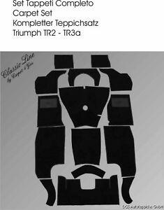 Carpet set for  Triumph TR2 and TR3 1955-1957  Velours black