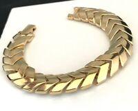 Erwin Pearl Bracelet Articulated Modernist Design Gold Tone Classic Vintage 1N