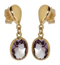 Traumhafte Ohrhänger Gold 750 mit Amethyst - Ohrstecker Ohrringe Goldohrstecker