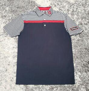 Footjoy Golf Polo Titleist Tour Blue Athletic Fit Men's Size Medium Striped