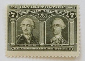 Canada - Quebec Tercentenary 1908 7c Montcalm & Wolfe Scott #100 MH