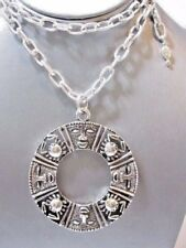 NECKLACE RAISED DESIGN TRIBAL SILVER TONE SARAH COVENTRY CRAB MASK EGYPITIAN