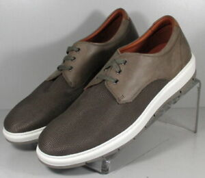252798 SD40 Men's Shoes Size 9 M Taupe Fabric & Leather Lace Up Johnston Murphy