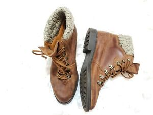 🌺'Peony' Brown Distressed Leather 7 Eye Lace-Up Boots Sweater Lining Women 7M