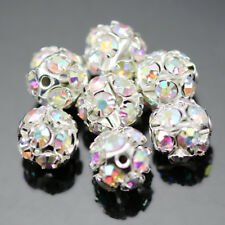 Clear AB Rhinestone Crystal Diamante Silver Plated Round Ball Spacer Beads
