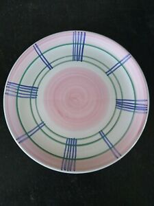 """Caleca  Pink Blue Garland Dinner Plate 11"""" Hand Painted Earthenware Italy"""