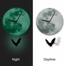 Bat Pendulum Clock Glowing Moon Home Decor Quartz Silence Kids Room