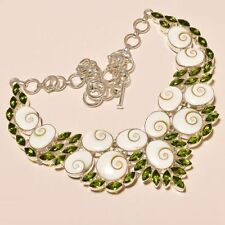 "SHIVA EYE SHELL WITH PERIDOT GEMSTONE .925 SILVER NECKLACE 18""  FREE SHIPPING"