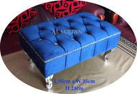 Luxury Diamante Foot Stool / Pouffe / Foot Rest in navy Blue plush velvet  blue
