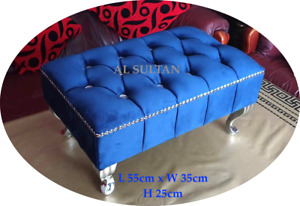 Luxury Blue Plush Velvet Pouffe Footstool With Chrome Queen Anne Design Feet