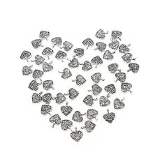 50Pcs Tibetan Silver Bronze Filigree Heart Charms Pendants DIY Jewelry Making LE