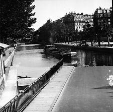 PARIS c. 1947 - Péniche  Canal Saint-Martin - Négatif 6 x 6 - N6 P150