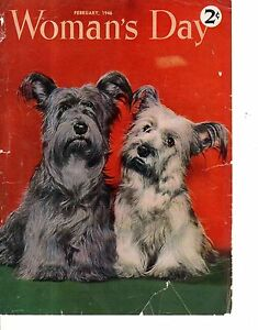 1946 Woman's Day Cover - February - Scottie and Westie