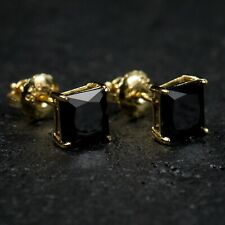Mens Yellow Gold Solitaire Black Onyx Princess Cut Diamond Stud Screw Earrings