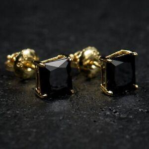 Mens Yellow Gold Solitaire Black Onyx Princess Cut Diamond Stud Screw Earrings