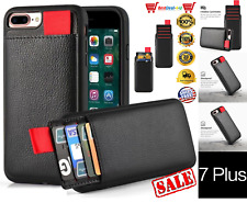 Leather/TPU Shockproof Case Wallet Card Holder Cover For iPhone 7 Plus 5.5 Black