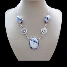 Dendriten Opal, Set, Halskette, Collier & Ohrringe, Ohrhänger, Silber plattiert