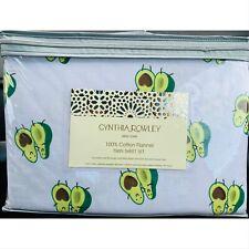 Cynthia Rowley 100% Cotton Avocado Heart Twin Sheet Set