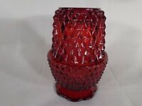 Indiana Glass Diamond Point Fairy Lamp Light Red Flash