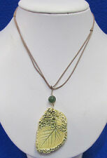 Porcelain Leaf Pendant Necklace Jewelry Green Brown Cord Signed Cynthia 2011