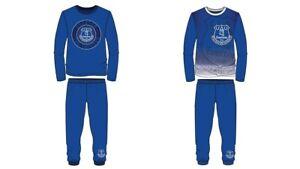 Boys Kids Everton Pyjamas PJs Nightwear 2 to 12 Years Long Sleeve Blue Toffees