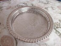 Small Moroccan Handmade Serving Brass Tea Tray 8 In (20 cm) round Nickel Plated
