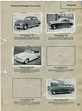 BORGWARD: 1950s Vintage German Card Album Page w/ 4 Picture Cards