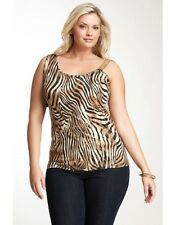 NWT SIMPLY IRRESISTIBLE PRINT COLD SHOULDER TANK BROWN PLUS SIZE 1X $58