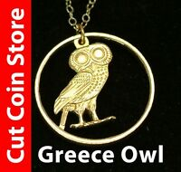 Greece Owl Cut Out Coin Jewelry Necklace