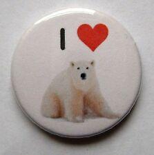 I Love Polaire Ourson - 25mm 2.5cm Insigne de bouton, cœur animaux vie sauvage