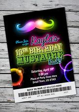 Mustache Bash GLOW IN THE DARK THEME Birthday Party Invitation NEON Necklace