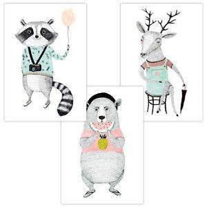 3er Set Wandbilder Baby Kinderzimmer Poster Deko A4 W01 Tourist Waschbär Bär Reh