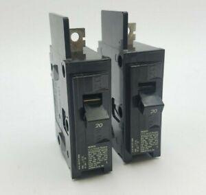 2 PC ITE BQ1B020 Circuit Breaker 20A 1P 120/240V Type BQ 20 Amp 1 Pole Bolt On