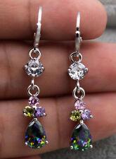 18K White Gold Filled - 1.5'' Mystic Waterdrop Topaz Amethyst Lady Gems Earrings