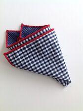 NEW Pocket Square Checks Polka Dots Red Trim Navy Blue Reversible Gift Cotton