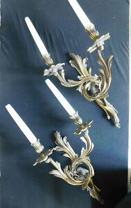 Paire d'appliques en bronze style Louis XV perroquet
