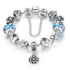 European 925 Silver Flower Dangle Charm Bangles With Blue Charms Beads Jewelry