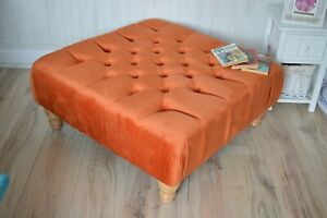 Square  Chesterfield  Deep Button  Footstool in a Luxury Orange Velvet Fabric