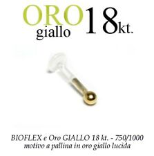 Piercing BIOFLEX LABRET TRAGO ORECCHIO pallina oro GIALLO 2,3mm 18kt. white GOLD