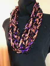 Hand Made Crochet Infinity Scarf~2x64~Halloween Purple Black EyeLash & Orange!