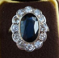 Stunning art deco 18ct white gold 6ct sapphire and diamond cluster ring