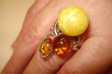 Tricolor Genuine Amber Gemstone Designer Style Ring Size 9.25 in Sterling Silver