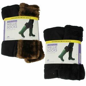 RJM Ladies Fleece Wellie Socks With Faux Fur Style - SK282CDUA