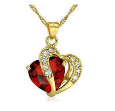 Fashion Women Heart Red Crystal Rhinestone Gold Chain Pendant Necklace Jewelry