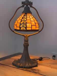Unique Tiffany Style 18 Tall Stained Glass Lamp Lotus Bell Rare Vintage